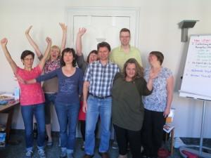 Teilnehmer eines Seminars für Eltern von Kindern mit Down-Syndrom, Weimar 2015