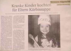 Bericht in der Zeitung Weimarer Allgemeine zum Achtsamkeits-Seminar für Eltern von Kindern mit Down-Syndrom