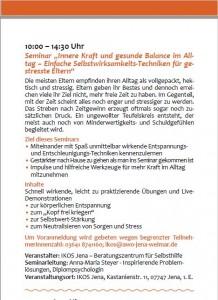 Seminar von Dipl.-Psych. Anna-Maria Steyer auf der Woche der seelischen Gesundheit in Jena: Einfache Selbstwirksamkeits-Techniken für gestresste Elternen für Entspannung